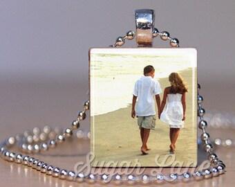 Photo Necklace - Color Picture - Scrabble Pendant with Chain - Picture Necklace