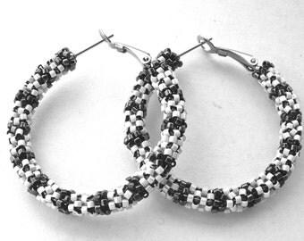 Beaded hoop earrings | black and white hoops | spectators earrings | woven beaded jewelry | beaded glass earrings | black, white jewelry