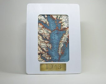 Chesapeake Bay Map Framed with Hand Stamped Date on Brass Vacation Hostess Gift