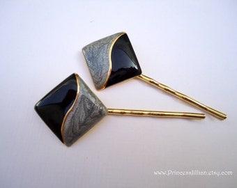 Vintage earring hair grip - Minimalist art deco jet onyx black marbled grey gold streak enamel decorative embellish jeweled hair accessories