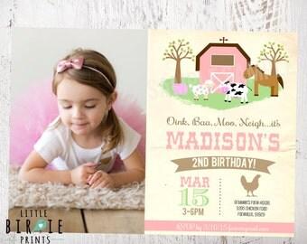 GIRL FARM INVITATION - Vintage Farm invitation - Birthday Party Farm Animals - Pink Farm Invitation - Vintage Farm Animals Invitation