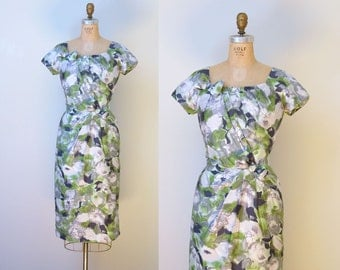 1950s Floral Dress / 50s Cotton Wiggle Dress