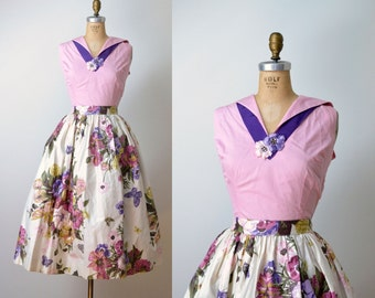 1950s Floral Print Dress / 50s Polished Cotton Skirt