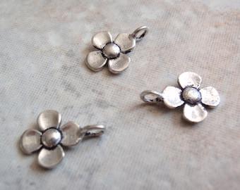 Flower Charms Sterling Silver Dogwood Four Petal 3 Pieces Destash