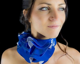 Blue fantasy ruffle neck asymmetric collar with delicate PVC fabric style back velcro closure