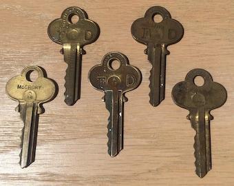 Vintage ATLAS Brass Keys Stamped McRORY - Set of 5
