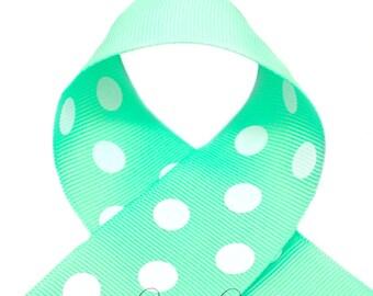 Mint Green Polka Dots 7/8 inch Polka Dot Grosgrain Ribbon - Polka Dot Ribbon, Polka Dot Hair Bow, Polka Dot Bow, Ribbon By The Yard