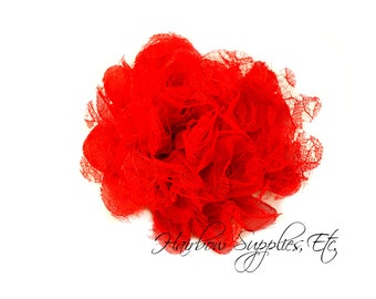 Red Petite Lace Chiffon Flowers 3.5 inch - Red Shabby Flowers, Red Fabric Flower, Red Chiffon Flower, Red Flowers for hair, Red Lace flowers