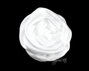 White Elegant Rosette Satin Flowers 3 inch - White Satin Flowers, White Rosettes, White Flowers for Hair, White Hair Flowers