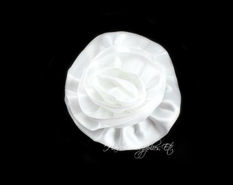 White Rose Ruffle Silk Flowers 2 inch - White Flowers, White Hair Flower, White Silk Flower, White Flowers For Hair, White Hair Accessories