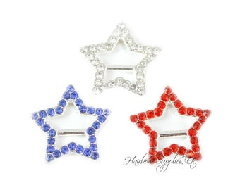 Red, White & Blue Star Rhinestone Sliders 16 mm -July 4th - Hairbow Supplies, Etc.