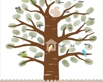 Baby Shower Fingerprint Tree, Fingerprint Guest Book, baby birds and squirrel guestbook - Custom color, size, text - DIGITAL PRINTABLE JPEG