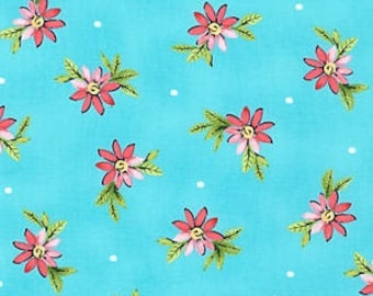 Michael Miller - Delightful - Playful Posies in Turquoise - Swirly Girls- cotton quilting fabric - BTY