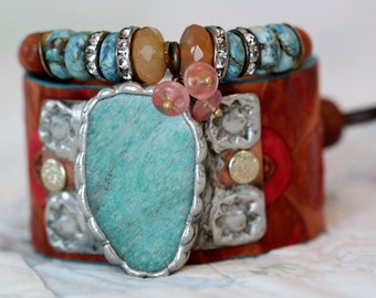 Boho Cuff Bracelet, unique bracelet, leather cuff bracelet