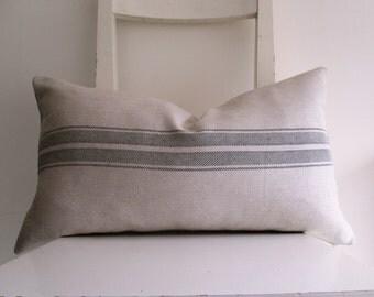 Lumbar Linen Striped Fabric  21 x 12 Cushion cover