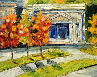 ORIGINAL Oil Painting on canvas impasto Palette Knife painting Colorful painting Red Textured street ready to hang gift  ART by Marchella