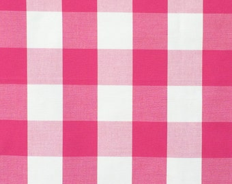 Dark Pink And White Gingham Checks Cotton Fabric By The Yard,Upholstery Fabric,Drapery Fabric,Shower Curtain Fabric,Wholesale Fabric