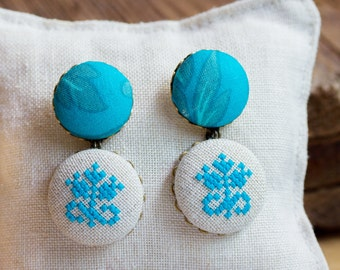 Large fabric earrings, hand embroidered earrings in turquoise color e006
