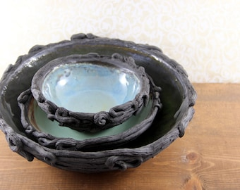 Bird's Nesting Bowls - Black Clay