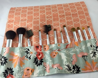 Makeup Brush Roll Holder -  Riley Blake Apricot and Persimmon Apricot Main - Ready to Ship