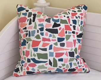 Lulu DK Colors in Rose Designer Pillow Cover with Piping- Design on Both Sides - Square, Euro and Lumbar Sizes