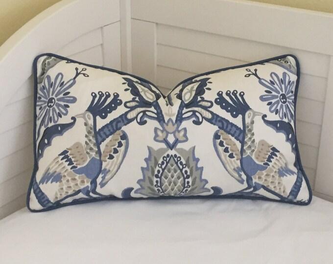 Thibaut Peacock Garden Designer Lumbar Pillow Cover with Piping