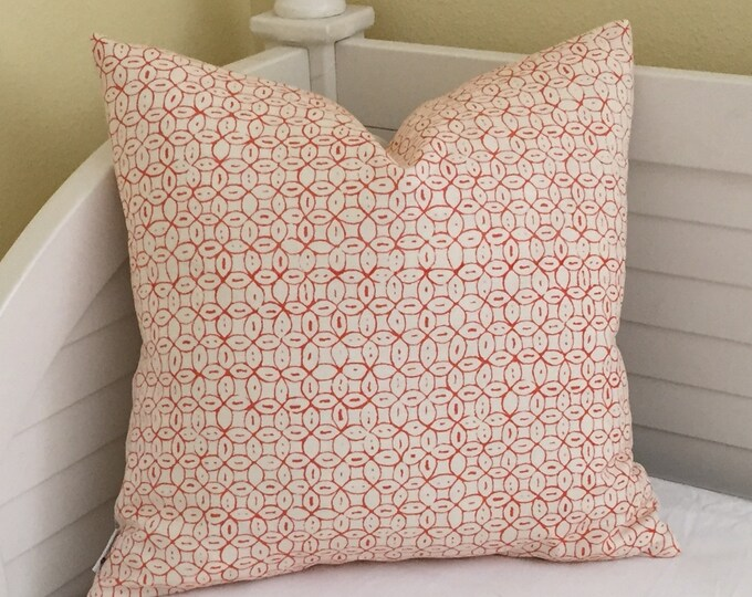 Quadrille China Seas Melong Batik in Salmon Designer Pillow Cover - Square and Euro Sizes