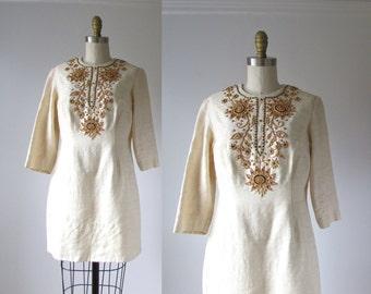 vintage 1960s beaded dress / 60s mini dress