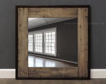 Reclaimed Wood Mirror Bathroom Mirror in Earthy Neutrals w Dark Perimeter Distressed Square Weathered Wood Barn Salvage Powder Room 26 X 26