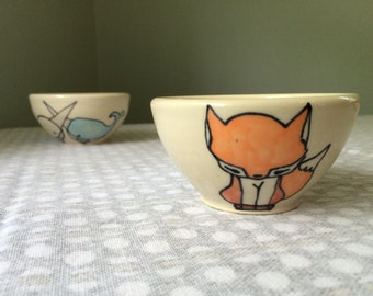 Fox Small Snack Bowl Orange + White Fox Bowl Cute Pottery Children's Ceramic Jewelry Holder Kid Present Woodland Animals Foxes Illustration