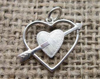 Vintage Sterling silver double heart & arrow pendant charm