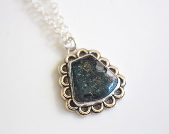 Last Minute Gift Blue Stone Necklace /  Blue Covellite Stone Silver Jewelry / Metallic Blue Stone Pendant Sterling Silver Necklace