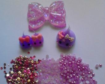 Kawaii cabochon purple teardrops decoden deco diy charm kit  340--USA seller