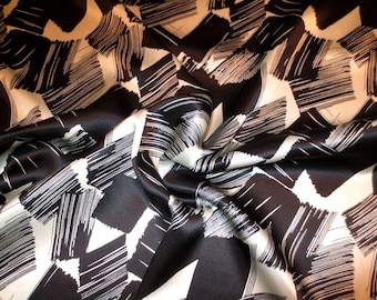 Black on Ivory Abstract Paintbrush Print Pure Silk Charmeuse Fabric--By the Yard