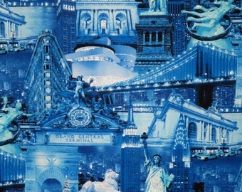 ON SALE Shades of Blue with Silver NYC Collage Print Pure Cotton Fabric--One Yard