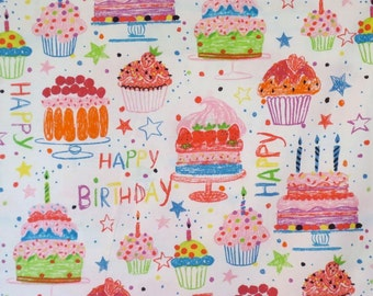 Fun Crayon Birthday Cake Print Pure Cotton Fabric--By the Yard