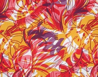 ON SALE Red and Yellow Gold Tropical Print Rayon Faille Fabric--One Yard
