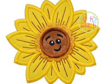 Cute Fall Sunflower Applique Design For Machine Embroidery, INSTANT DOWNLOAD now available