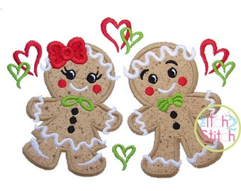 Gingerbread Couple Applique,  Sizes 4x4, 5x7, & 6x10, INSTANT DOWNLOAD available