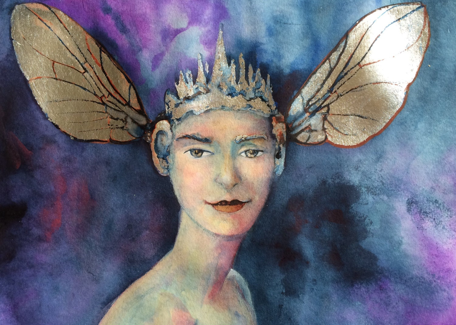 Fly Goddess Woman With Fly Wings Fantasy Painting Fairy