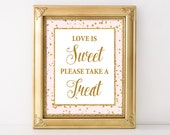 Love Is Sweet Please Take a Treat Printable Sign, Pink & Gold Glitter Shower Table Sign, Shower Favor Sign, 2 Sizes, INSTANT DOWNLOAD
