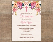 Baby Dedication Invitation, Baby Girl Baptism Invite, Christening Invite, Watercolor Floral, DIY PRINTABLE