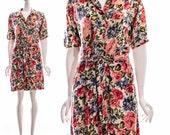 Vintage 80s Floral Romper Pink Flower Jumpsuit Bohemian Festival Boho Drape Tie Waist Cotton Jumpsuit Romper Medium