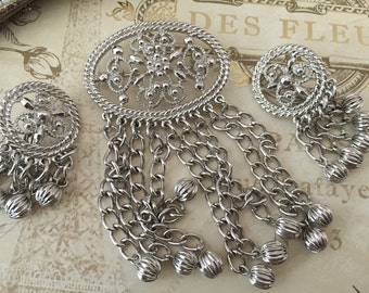 Vintage Sarah Coventry Silver Brooch Set, SC Estate Jewelry Set