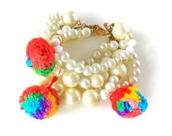 Sicilian inspired pom pom bracelet, pom pom jewelry, bohemian bracelet, boho bracelet, pearl bracelet