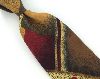 Vintage Abercrombie Fitch Us Made Geometric Art Deco Maroon Silk Men Necktie I4-441 Ties Corbata Krawatte Cravatta Cravate