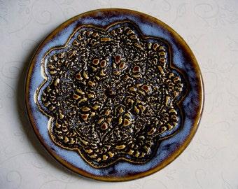 Misty Blue Pottery Doily Dish or Spoon Rest
