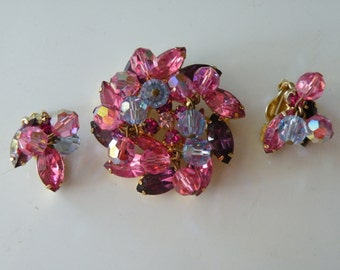 DeLizza and Elster, Inc Juliana purple, lavender, pink crystals cha cha brooch clip-on earrings.