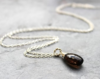 Smoky Brown Quartz Necklace Pendant Necklace Sterling Silver