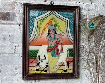 Lord Krishna Vintage Indian Painting Hindu Deity Traditional Artwork Global Folk Art Reverse Painted Glass Wall Decor